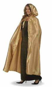 Fancy Masquerade Gold Cape Satin Hooded Cloak Robe Adult Costume Accessory New