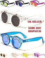 Round Flip-Up Unisex Womens Mens Boys Girls Transparent Sunglasses 100%UV400 12c
