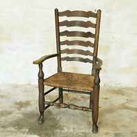 C19th Ladderback Oak Rush Seat Country Rush Seat Carver Armchair