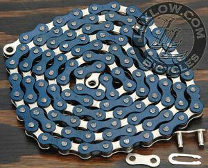 "Blue & Silver 2 Tone Fixie Bicycle Chain 1/2""x1/8"" 112L Schwinn Cruiser Bike BMX"