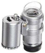 45X Microscope Magnifier Mini Jewelers Loupe Ultra Violet Light LED Bulbs UV
