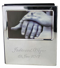 Personalised Silver Plated Wedding Photo Album with Photo Frame, Engraved Gift