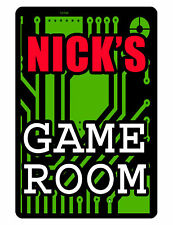 Personalized Game Room Sign Printed with YOUR NAME Hi Gloss Aluminum circuit 264