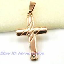 """Rose Gold Plated Solid Fill Gep Pendant 1.81"""" 5g Cz Inlaid Latin Cross Charm 18K"""
