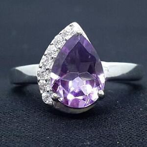World Class 2.20ctw Amethyst & Diamond Cut White Sapphire 925 Silver Ring SZ 5.5