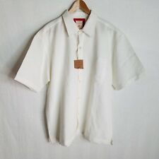 New Red Camel Mens White Button Front S/S Casual Shirt Size Medium TP615