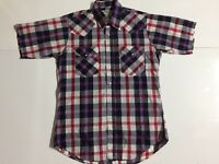 Vintage Ruddock Mens 15.5 M Pearl Snap Western Checker Short Sleeve Cotton Shirt