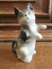 ancienne statuette biscuit vernissé chat