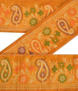 Sanskriti Vintage Yellow Sari Border Woven Indian Craft Trim Sewing Paisley Lace