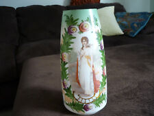 """GORGEOUS WHITE BRISTOL GLASS PORTRAIT VASE/ QUEEN LOUISE/ PRUSSIA/ 11 1/2"""" TALL"""