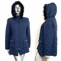 Quilted Jacket with Pockets Detachable Hood Navy Blue Faux Fur Trim 42 44