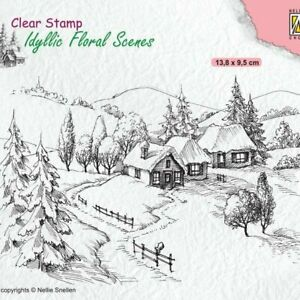 Nellie's Choice Clear Stamp - Idyllic Floral - Wintery IFS026