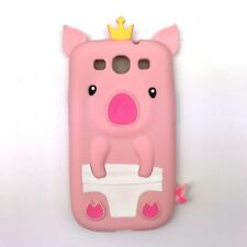 New Samsung Galaxy S3 Silicone Flexible Phone Case Cover Cute Pink Piglet