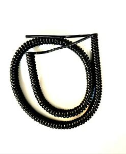 """4 CORE 0.5sqmm COILED BLACK PUR CABLE. 1 metre (39.5"""") COIL LENGTH"""