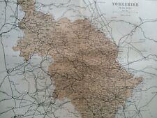1868 Yorkshire West Riding Original Antique Map UK England Vintage Old County