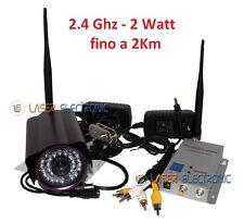 Telecamera Wireless Stagna a Lungo Raggio fino a 2000 metri 2.4Ghz. 2.0Watt 4Ch