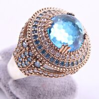 TURKISH JEWELRY 925 SILVER HANDMADE AQUAMARİNE STONE LADIES RING ALL SIZE US