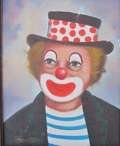 VINTAGE OUTSIDER ART CREEPY CHICAGO CLOWN PAINTING FACE PAINT MIDWEST CURIOSITY