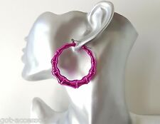 Gorgeous shiny metallic hot pink - cerise ACRYLIC bamboo hoop earrings