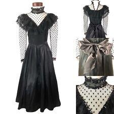 Vintage Gunne Sax Dress Steampunk Goth Edwardian Victorian Black Lace Boho Sz 7