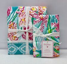 NEW Pottery Barn TEEN Lilly Pulitzer Orchid Border TWIN Duvet Cover & Sham