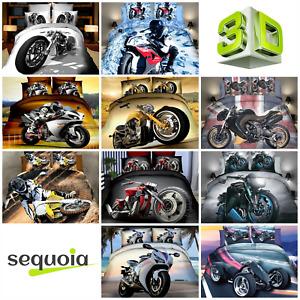 3D Bedding Set Motorbike Duvet Quilt Cover Effect Print Reactive Single UK size