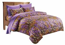 7 PC PURPLE CAMO COMFORTER AND SHEET SET QUEEN CAMOUFLAGE WOODS BEDDING