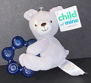 New Tags Gray Dog Baby Teether Ring Plush Toy Carters Child of Mine