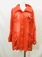 Chicos women's orange sheer button down top convertible sleeves sz 3 (XL)