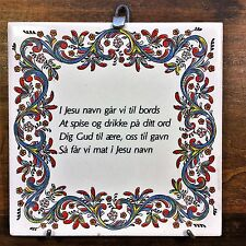 Vtg NORWEGIAN BLESSING TILE Wall Hanging Daily Meal PRAYER Grace Plaque Norway