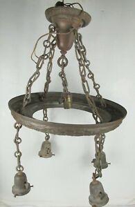 "Vtg ART DECO Ceiling Light Fixture Brass hanging chandelier 5 Light 16"""
