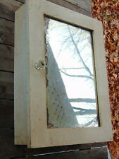 Vintage Crusty Old Wooden Medicine Wall Cabinet with Mirror Small Size
