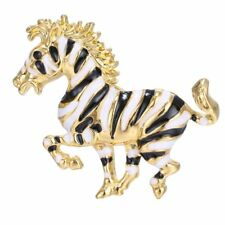 New Fashion Women Crystal Rhinestone Gold Plated Animal Zebra Brooch Pin Gift
