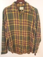 Cabela's Shirt Mens Large Flannel Plaid Long Sleeve Green Red Yellow Hunting