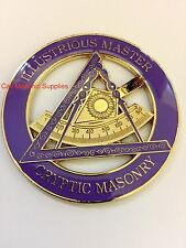 Freemason Criptic Masonry ILLUSTRIOUS MASTER  Car Tag Emblem Golden  Finish