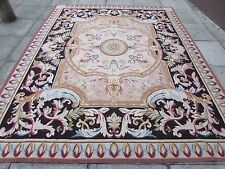 Old Hand Made French Design Original Wool 10 x 8 Beige Black Aubusson 312X248cm