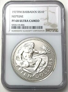 1977 Silver Gem Proof Barbados $10 Dollar Neptune 37.9 Grams Coin NGC PF 68 UC