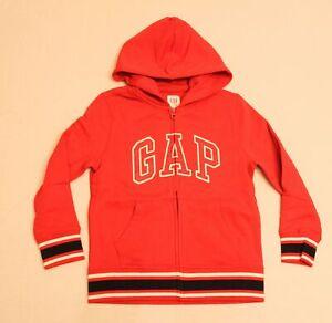 GAP Boy's Long Sleeve Logo Full Zip Hooded Sweatshirt CB6 Red Size S NWT