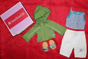 American Girl Doll KICKIN BACK OUTFIT Tank, Capris, Sandals & Hoodie Green