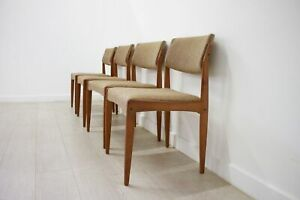 DELIVERY £60 Mid Century Retro Set of 4 Danish Teak Dining Chairs by Bramin