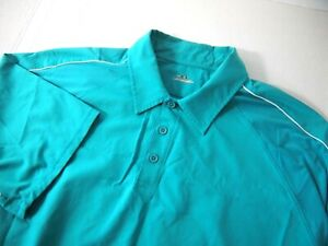 Under Armour Mens Golf Polo Shirt 2XL Solid Teal Blue Short Sleeve Polyester