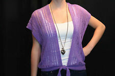 VTG 70s PURPLE WRAP VEST OPEN KNIT WAIST TIE FLOWY DRAPE Scarf SWEATER
