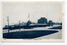 CANADA carte postale ancienne MONCTON N.B. train gare C.G.R. Station