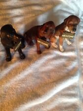3. DOGGIE WELCOME DOGS HARD PLASTIC CARVED DOGS 3 DIFFERENCE BREEDS AND COLORS