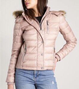 Superdry Luxe Fuji Women Double Zip Faux Fur Hooded Puffer Winter Jacket Sz S