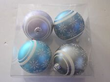 4 Purple Blue Snowflake 3 Inch Ball Shatter Resist Christmas Ornament Decoration