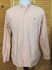 Ralph Lauren Long Sleeve Button Front Shirt Pony Logo Orange Blue Striped Medium
