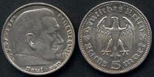 GERMANY Third Reich 5 Reichsmark Hindenburg 1936A  AG