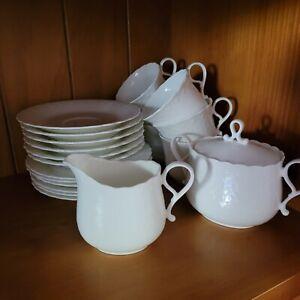 6 x Mikasa White Silk Pattern Tea Cup,  Saucer, Plate, Creamer and Sugar Bowl