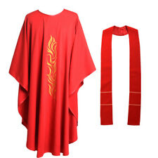 Red Catholic Church Priest Chasuble Vestments Robe Clegy Apparel W No Collar